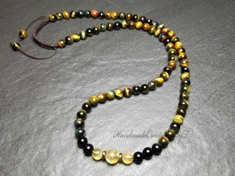 952ffc0160c89a Tiger Eye Black Tourmaline & Citrine Necklace Gemstone Mala | Etsy