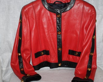 Leather jacket Vintage 90s Escada black orange lambskin jacket Haute Couture spencer