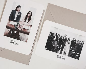 50 Wedding Thank You Cards Photograph Personalised Rustic