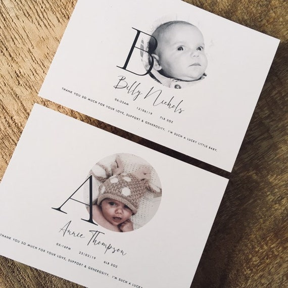 New Baby Thank You Cards with own Photo and Text 50