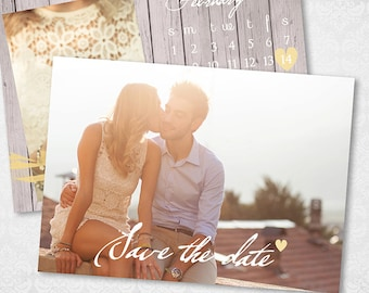 5x7 Save The Date Template - Wedding Invitation Card - Engagement Announcement - Photoshop Template - STD003 - instant download