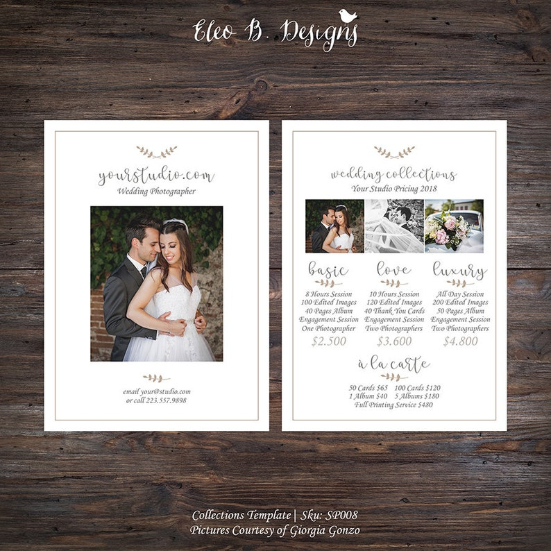 Photography Wedding Collections Template - Photography Pricing Packages -  Marketing Board - Photoshop Templates - SP008 - instant download
