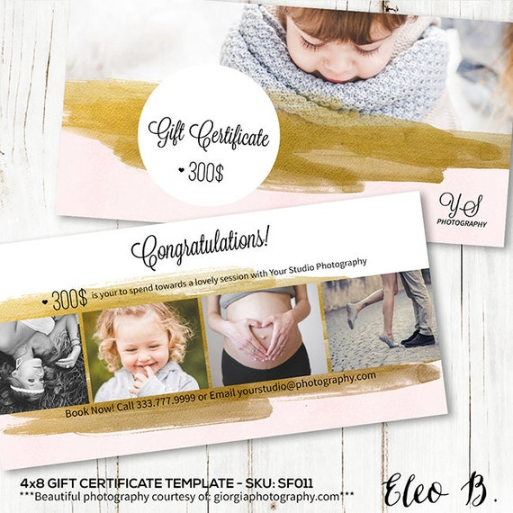 4x8 Gift Certificate Photography Gift Certificate Template