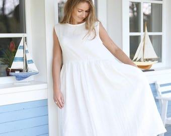 98c4672351f Wide Linen Dress   Pleated Linen Dress   Summer Linen Dress   Women s Linen    Loose fit   Long Linen Dress