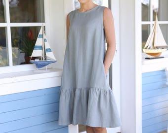 Linen Dress, Drop Waist Dress, Linen Clothing, Linen Tank Dress, Summer Linen Dress, Simple Linen Dress, Sleeveless Dress, Plus Size Dress