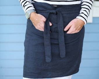 Linen Apron/ Half Apron / Cafe Apron in Charcoal Grey