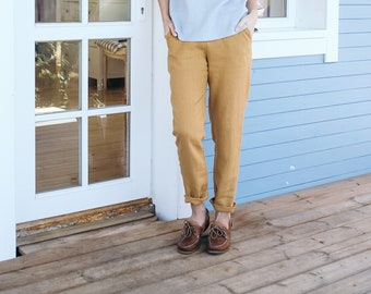 0d1501db30 Classic minimal linen pants. Women s trousers. Washed