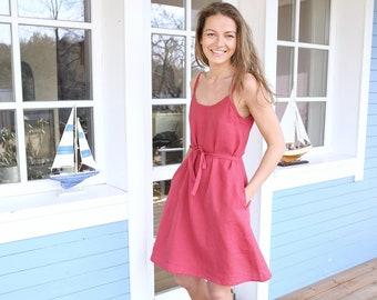 Linen Dress / Wide Dress / Summer Tunic / Fiesta Dress / Classic Dress / Stripes Dress / Dress with Stripes / Sleep Dress / Night Dress