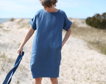 Minimal Linen Dress. Oversized Tunica.  Washed linen dress. Wide Dress. Loose Linen Dress With Pockets.