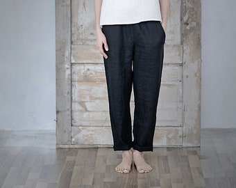 6fd94691ee74 Washed soft linen pants. Trousers with elastic waist. Japanese style pants.