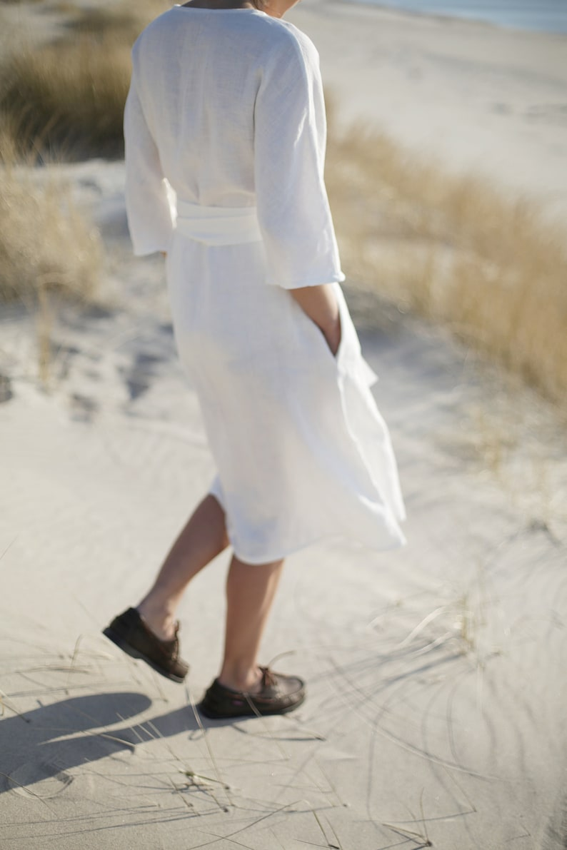 Long Wide Linen Dress  Japanese Style Loose Fitting Dress  image 0
