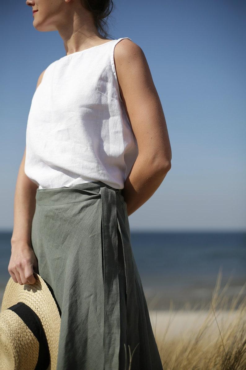Wrap Linen Skirt A-Line Silhouette Midi Skirt Knee Skirt image 0