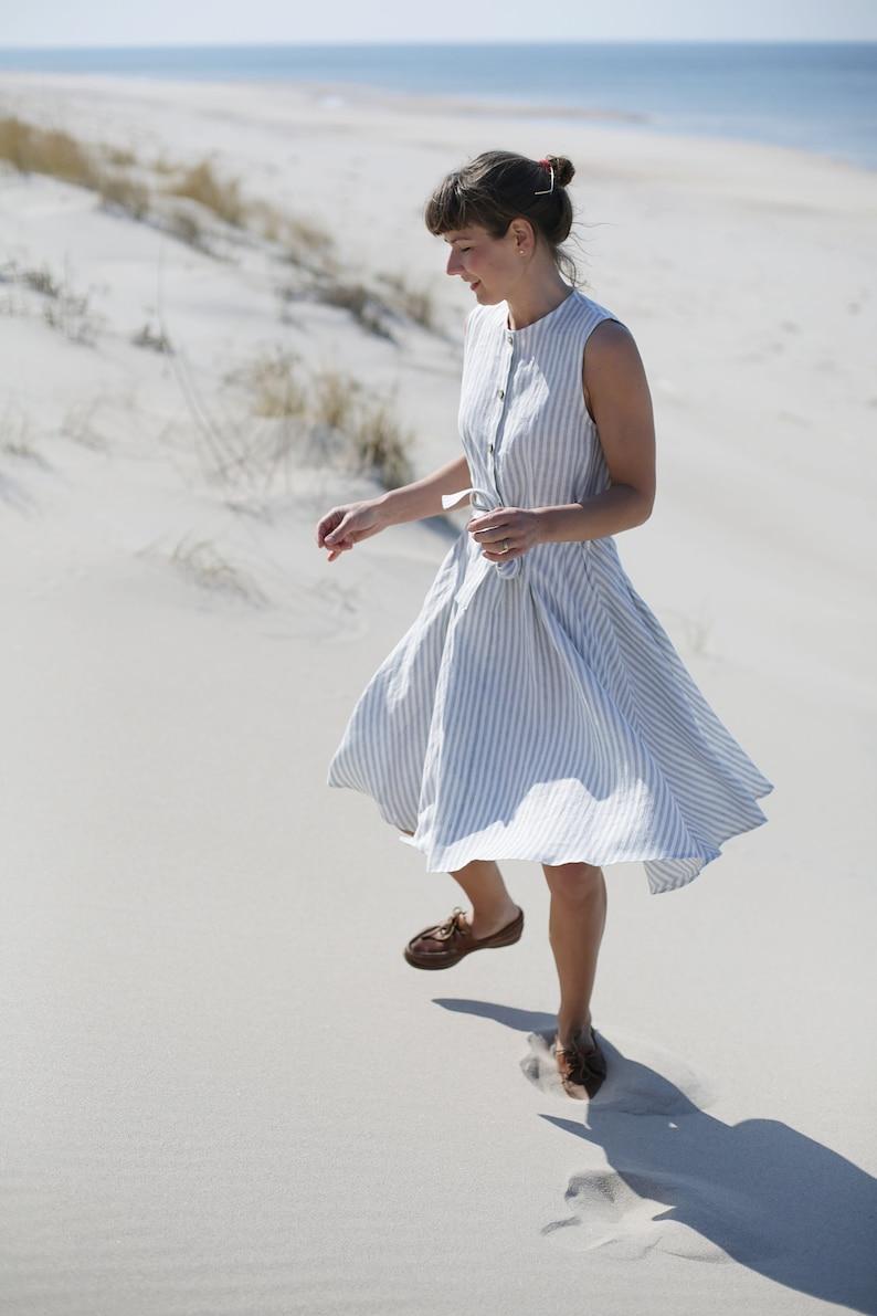 Wide skirt linen dress  Classic dress   Sleevless dress  image 0