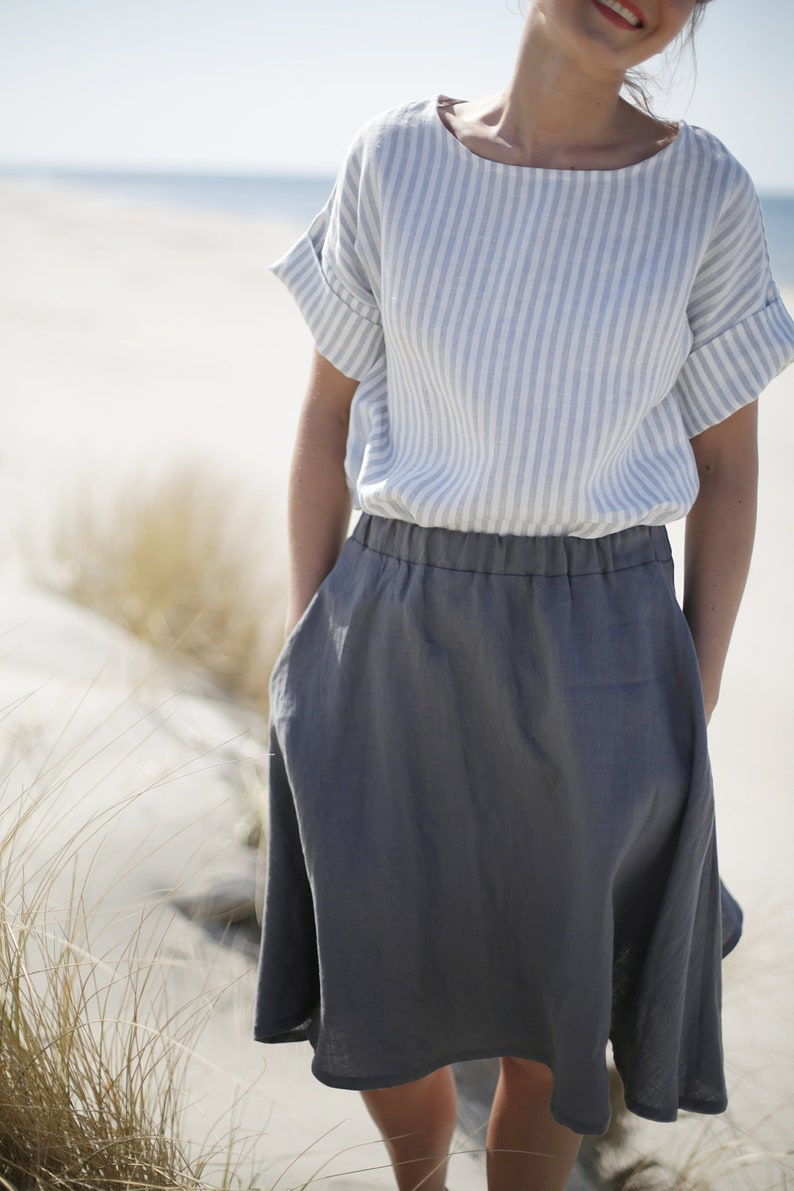 Linen Skirt With Elastic Waist  Washed Linen Skirt With image 0