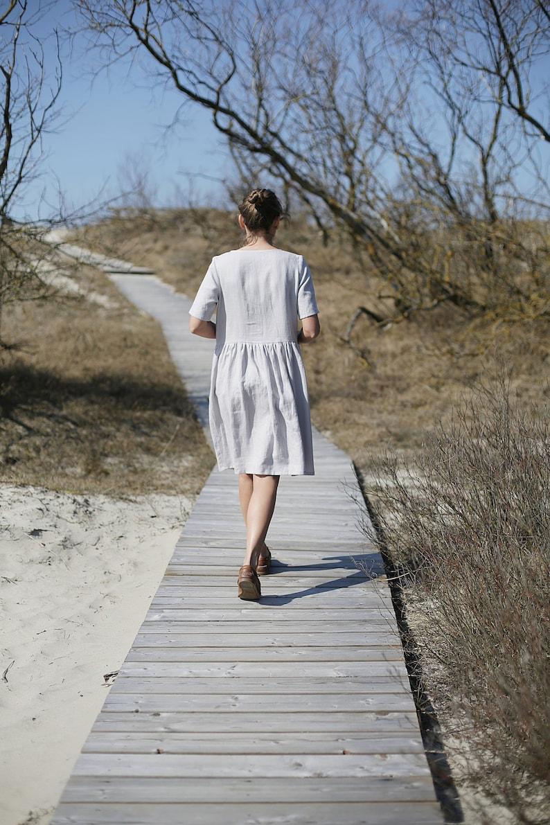 Comfy Linen Dress  / Wide Linen Dress / Longer Sleeves Linen image 0