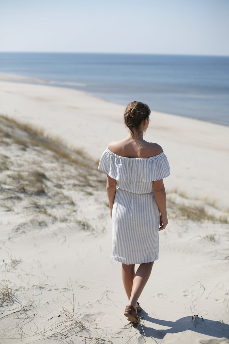 Romantic Linen Dress / Handmade Linen / Bare Shoulders Tunica image 0