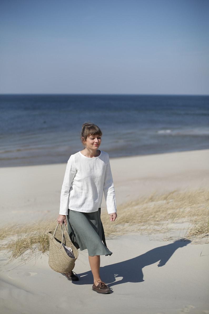 White linen blouse. Long sleeve linen top.  Basic linen top. image 0