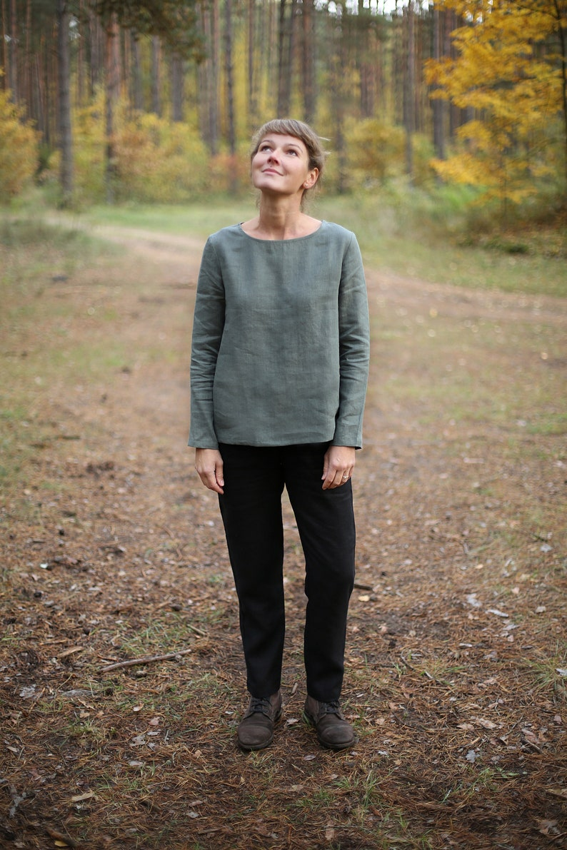Minimal linen blouse. Long sleeve linen top.  Basic linen top. image 0