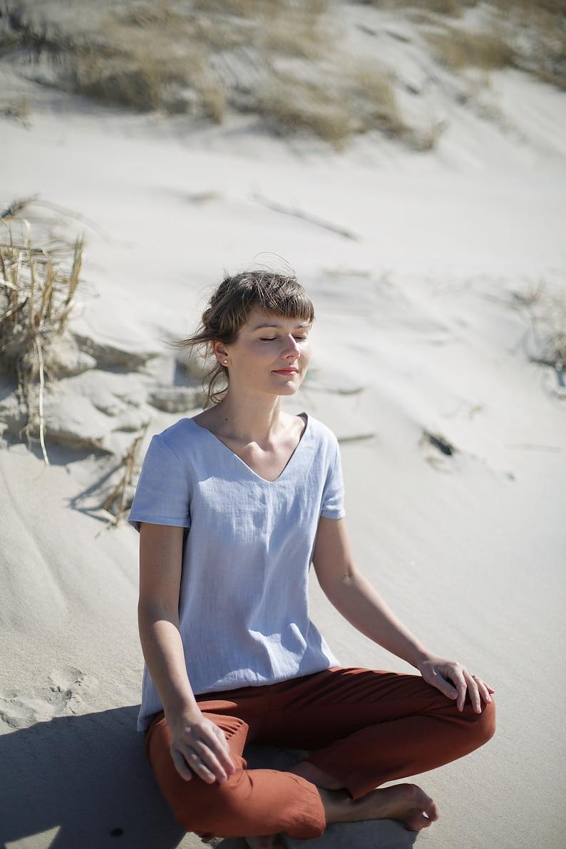 Linen Blouse / Women's shirt / Linen Top / Loose fit / V image 0
