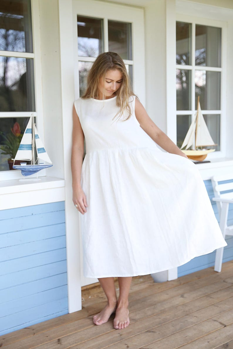 85b92c457ca Wide Linen Dress   Pleated Linen Dress   Summer Linen Dress