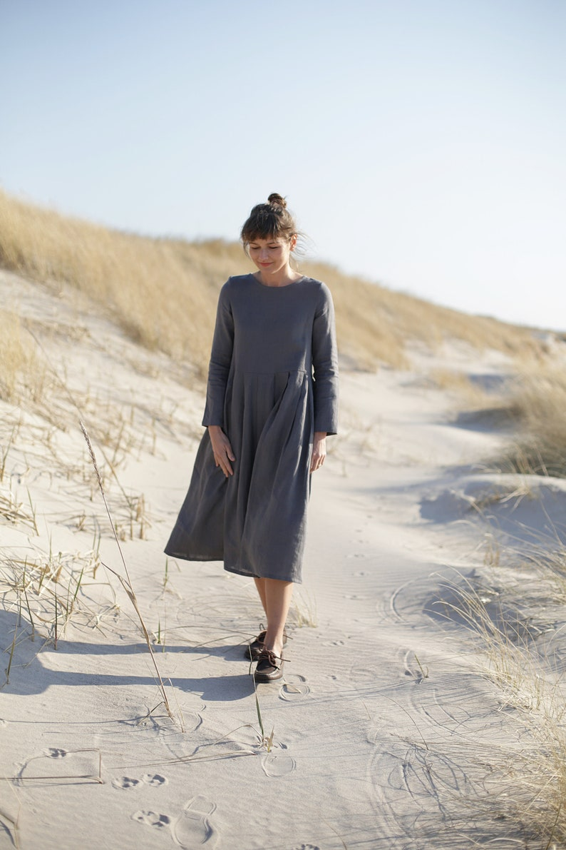 Long sleeve linen dress. Various colours available. image 0
