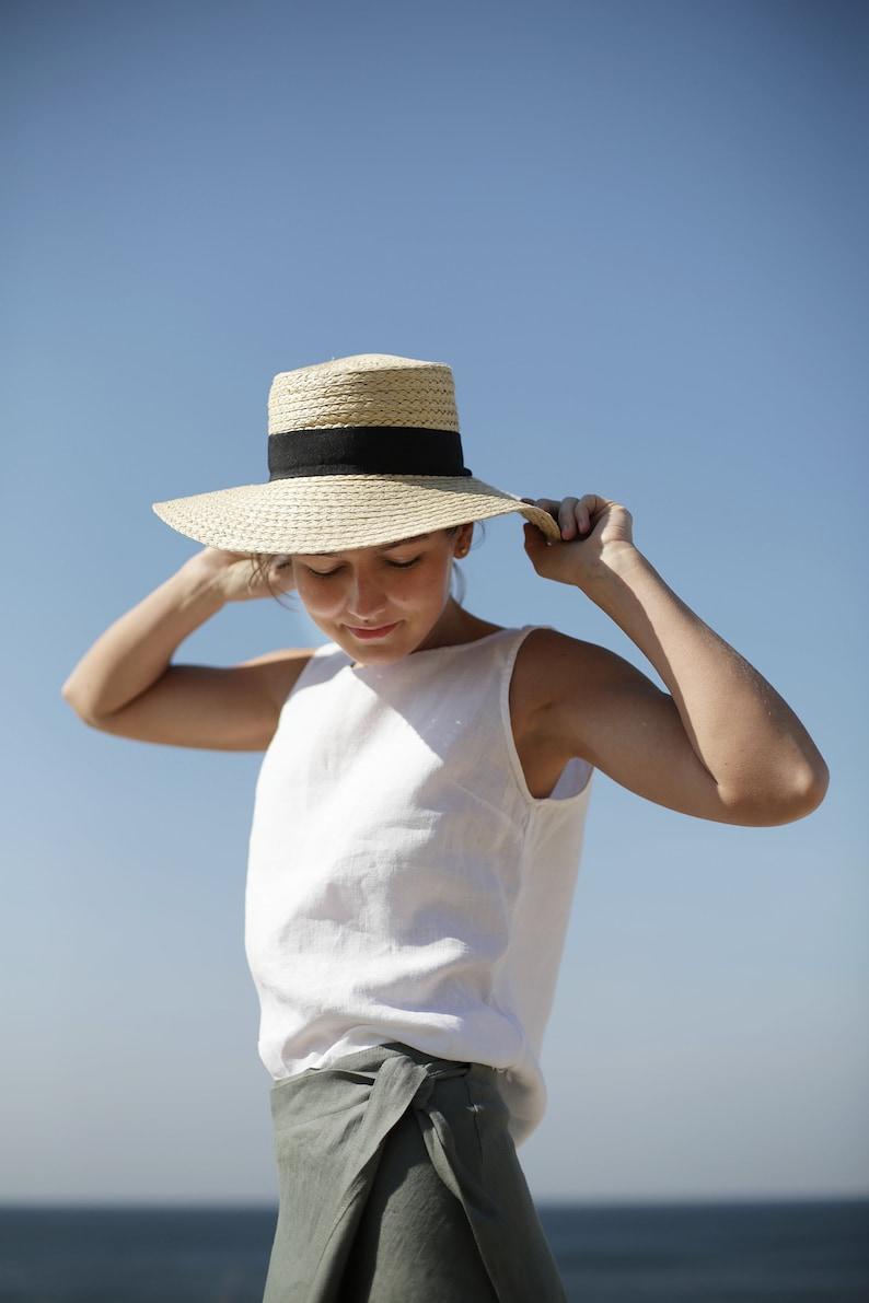 Sleeveless Linen Blouse. Washed soft linen top. Women's image 0