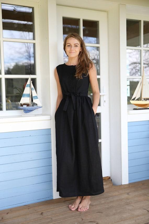 klare Textur retro hochwertige Materialien Nkd leinenkleid – Stylische Kleider für jeden tag