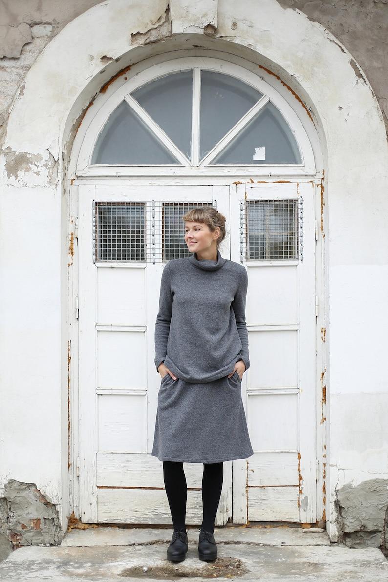 A line Skirt  Merino Wool Skirt  Knee Length Skirt  High image 0