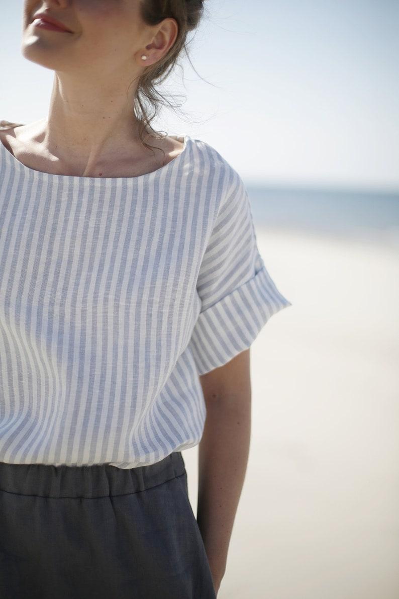 Vertical Striped  Linen Blouse  Washed Soft Linen Blouse  image 0