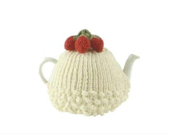 Strawberries and Cream Tea Cosy PDF Knitting Pattern Instant Download