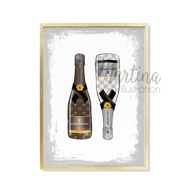 Designer Brands Louis Vuitton Champagne Luxury poster Fashion Illustration  Print... Designer Brands Louis Vuitton Champagne Luxury poster Fashion ... cfe2a5923c383