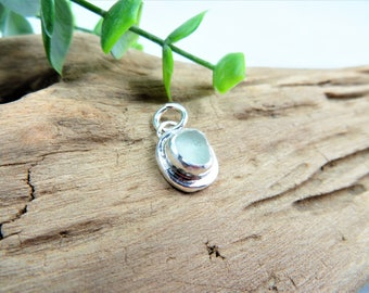 White Sea Glass Sterling Pendant