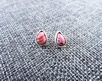 Rhodochrosite Sterling Stud Earrings