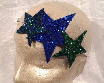 Glitter Star headband, glitter hairband, star headband, party hair accessory, bachelorette headband, costume, hen party