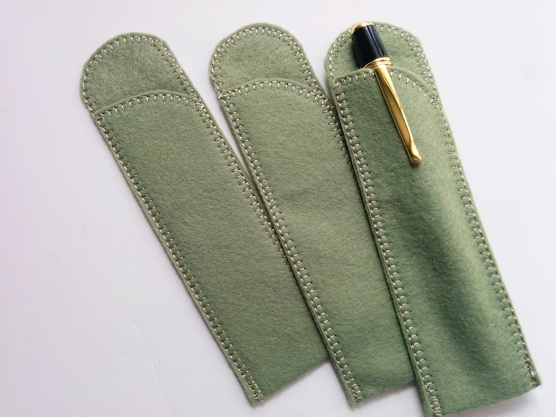 Crotchet Hook Case Pen Protector Sage Green Wool Felt Pen Protector Sleeves for Purse and Pocket