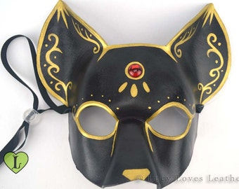 Black Cat Masquerade Mask, Black and Gold, Leather Mask, Halloween Costume, Egyptian Cat Mask