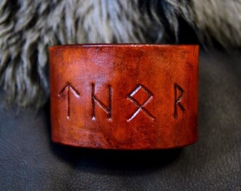 Thor Rune Bracelet, Leather Cuff, Hand Made Leather Gift, 3rd Anniversary Gift, Men's Bracelet, Thor Cosplay, Leather Rune Cuff