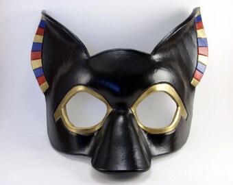 Anubis Mask, Leather Masquerade, Egyptian God, Cosplay Costume, Mardi Gras Mask, Display Piece
