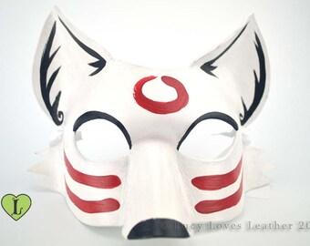 Light Trickster Fox,  White Sumi-e Mask, Kitsune Spirit, Fox Cosplay, Kitsune Costume, Animal Masquerade Mask, Fox Fursona, White Fox Mask