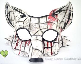 Bloody Fox Mask, White Fox Masquerade, Horror costume, Distressed Leather Mask, Gory Fox Mask, Kitsune Fursona, Halloween Costume