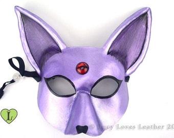 Fantasy Fox Mask, Halloween 2016, Metallic Purple Mask, Leather Fox, Masquerade Costume, Halloween Mask, Purple Fox Mask
