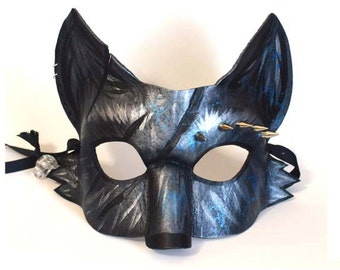 Silver Fox Mask, Spiked Leather Masquerade Mask, Mardi Gras Fox, Cosplay Costume, Arctic Fox, Grey Wolf, Fursona Costume, Leather Wolf Mask