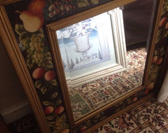 Large wall mirror bevel glass wooden frame and back