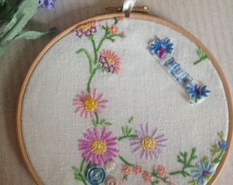 Handcrafted Mum embroidery picture with buttons in a hoop frame