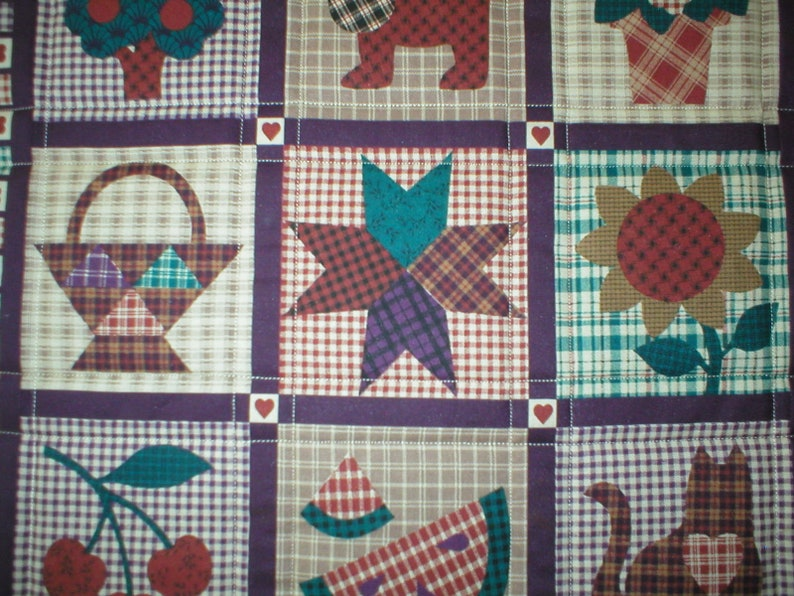 Table Topper 18 x 18 Quilted cotton Country Images in shades of rust and eggplant