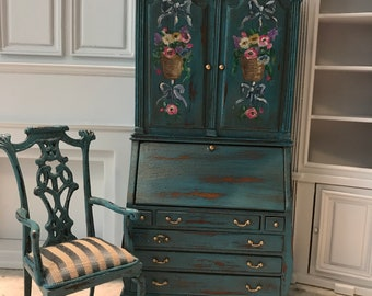 FABULOUS SECRETARY Hand Painted Desk And Silk Upholstery Stripe Chair