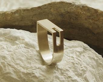 Elegant geometric and stylish sterling ring.