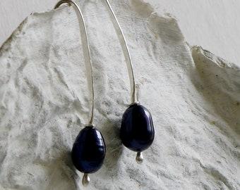 Sterling Silver Earrings with Black Pearls, Modern Jewelry, Stylish Earrings