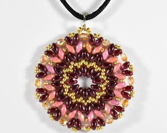 Red and Pink Mandala Pendant Necklace