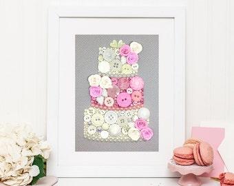 Made to Order Wedding Cake Button Art - Wedding Gift - Wedding Cake Art - Custom Button Art - Wedding Keepsake - Cake Wall Art